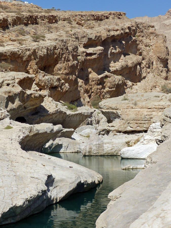 La corrente che alimenta Wadi Bani Khalid, Oman fotografia stock libera da diritti