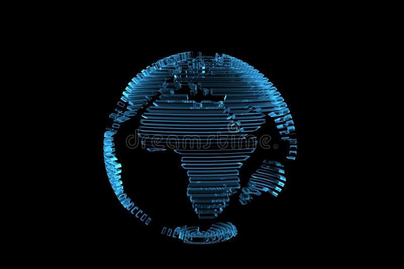 La correspondencia de mundo del globo 3D hizo la radiografía azul stock de ilustración