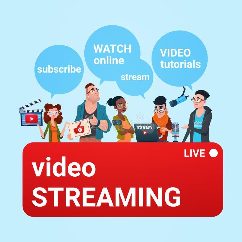 La corriente en línea del Blogger video del grupo de la gente Blogging suscribe concepto libre illustration