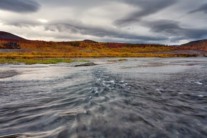 La corriente rápida en el río y el paisaje del otoño alrededor imagen de archivo libre de regalías