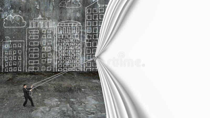 La cortina blanca del espacio en blanco del tirón del hombre de negocios cubrió doo sucio del paisaje urbano libre illustration