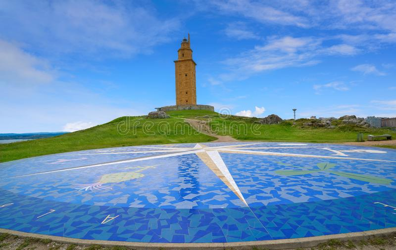 La Coruna compass mosaic Hercules tower Galicia. La Coruna compass mosaic floor near Hercules tower in Galicia Spain stock image