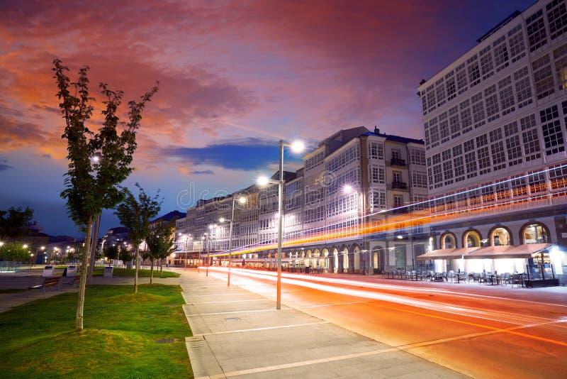 La Coruna facades sunset near Port in Galicia. Of Spain royalty free stock photos