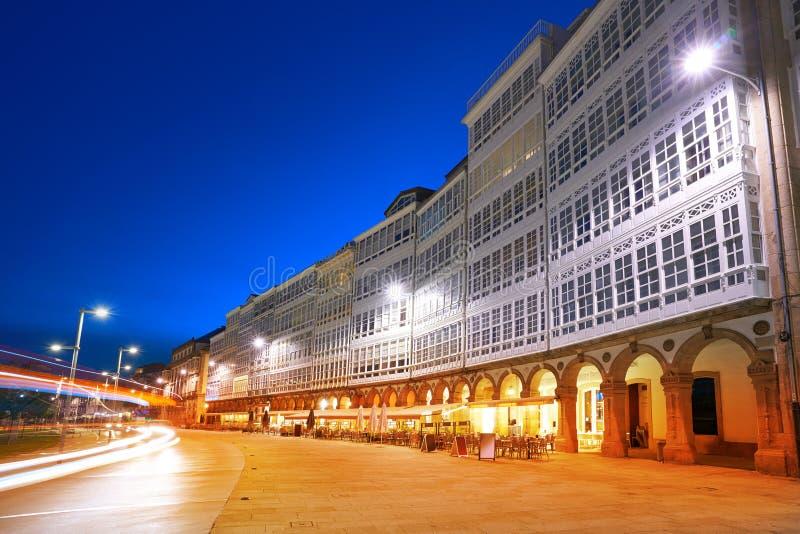 La Coruna facades sunset near Port in Galicia. Of Spain royalty free stock image