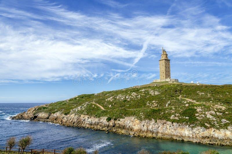 La Coruna Galicie, Espagne de tour de Hercule photographie stock libre de droits