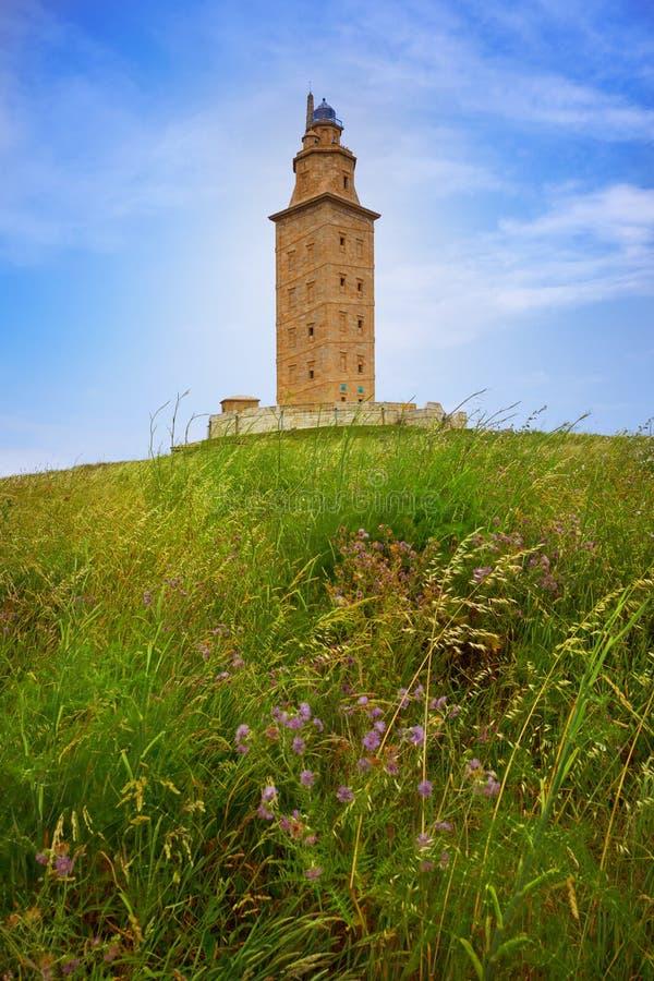La Coruna Hercules tower Galicia Spain. La Coruna Hercules tower in Galicia Spain stock image
