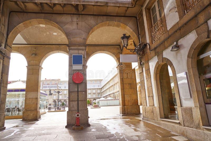 La Coruna Maria Pita Square arcade of Galicia. Spain stock photos