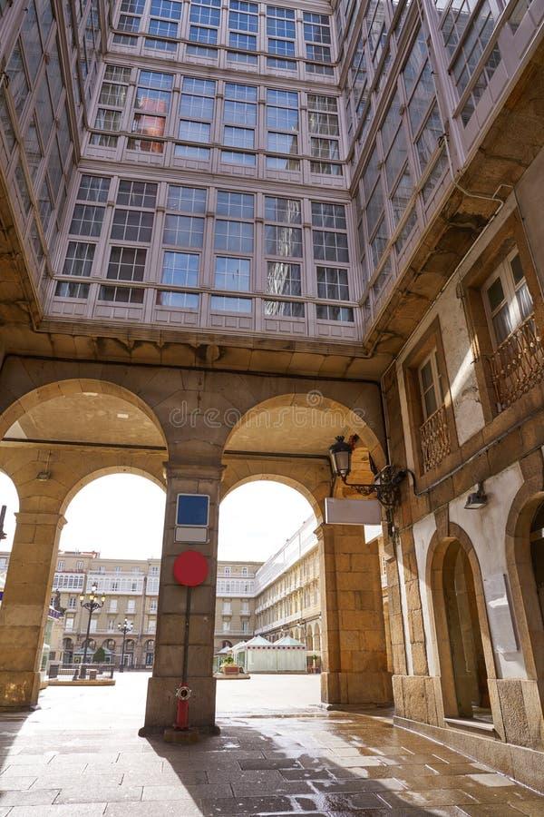 La Coruna Maria Pita Square arcade of Galicia. Spain royalty free stock photo