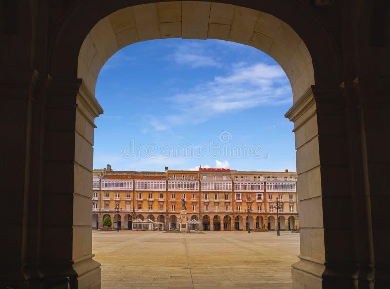 La Coruna Maria Pita Square Galicia Spain. La Coruna Maria Pita Square arcade of Galicia Spain stock images