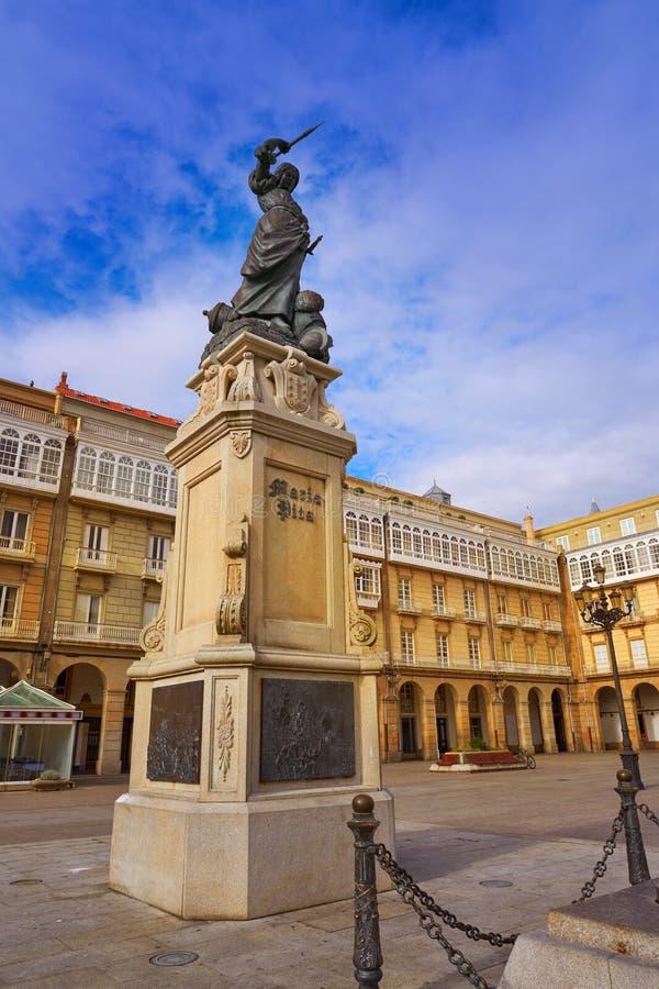 La Coruna Maria Pita Square monument in Galicia. Spain royalty free stock image