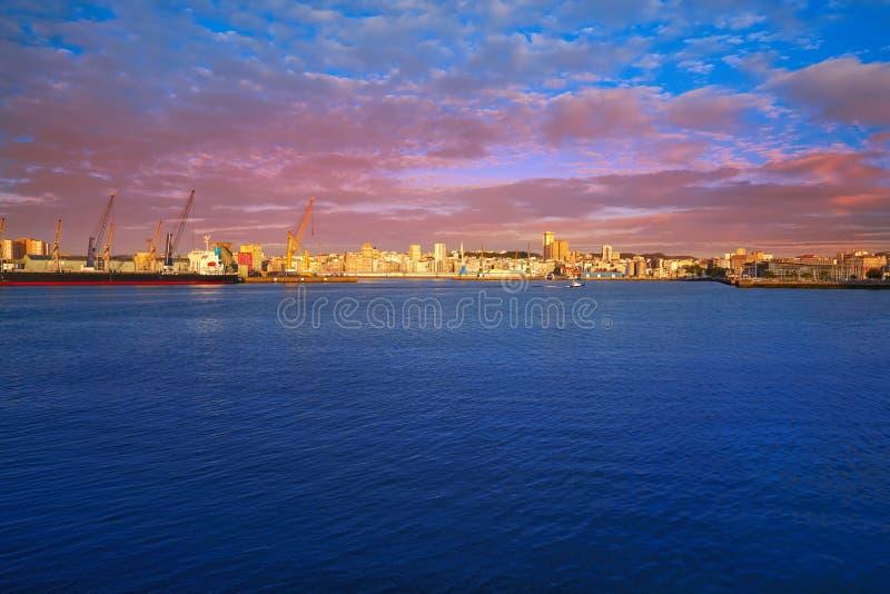 La Coruna Port in Galicia Spain. La Coruna Port sunrise in Galicia of Spain stock photography