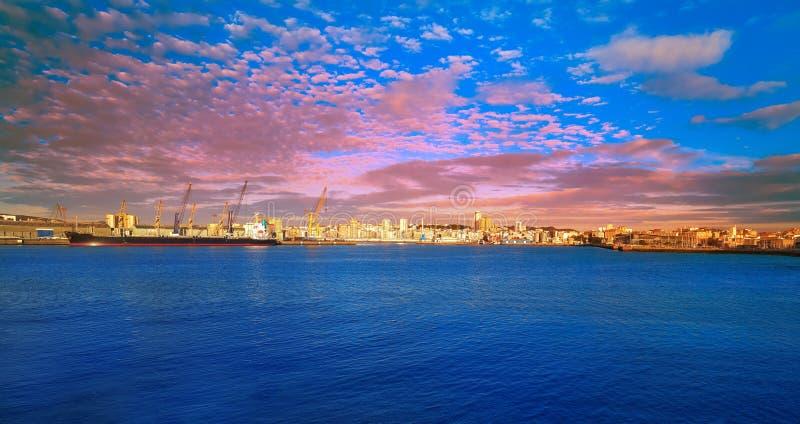 La Coruna Port in Galicia Spain. La Coruna Port sunrise in Galicia of Spain stock image