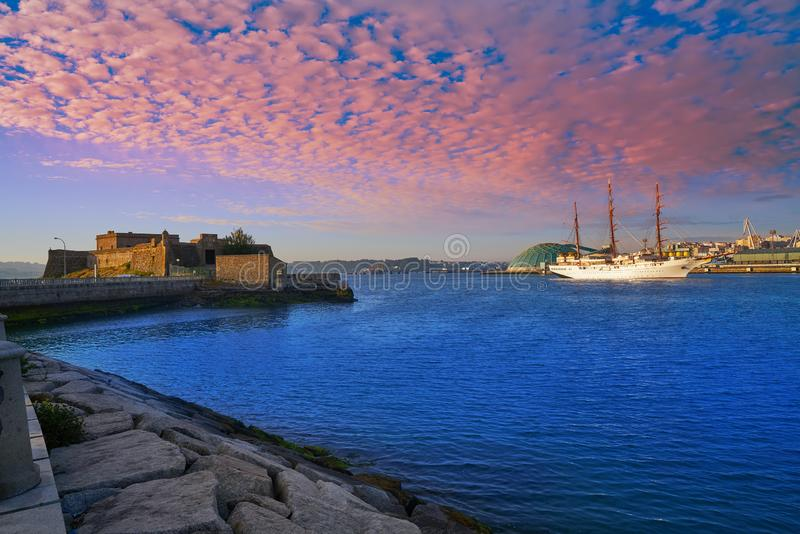 La Coruna Port in Galicia Spain. La Coruna Port sunrise in Galicia of Spain stock images