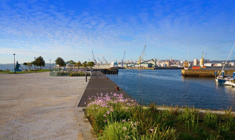 La Coruna Port in Galicia Spain. La Coruna Port sunrise in Galicia of Spain royalty free stock photos