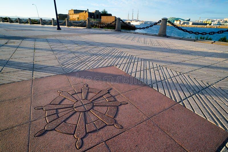 La Coruna Port pavement detail in Galicia Spain. La Coruna Port pavement detail in Galicia of Spain royalty free stock photography