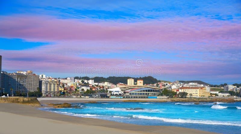 La Coruna Riazor beach in Galicia Spain. La Coruna Riazor beach in Galicia of Spain stock image
