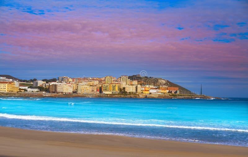 La Coruna Riazor beach in Galicia Spain. La Coruna Riazor beach in Galicia of Spain stock photography