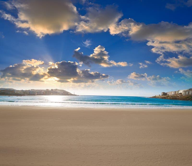La Coruna Riazor beach in Galicia Spain. La Coruna Riazor beach in Galicia of Spain royalty free stock images
