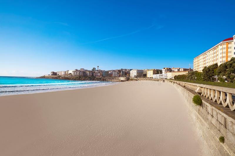 La Coruna Riazor beach in Galicia Spain. La Coruna Riazor beach in Galicia of Spain royalty free stock photo