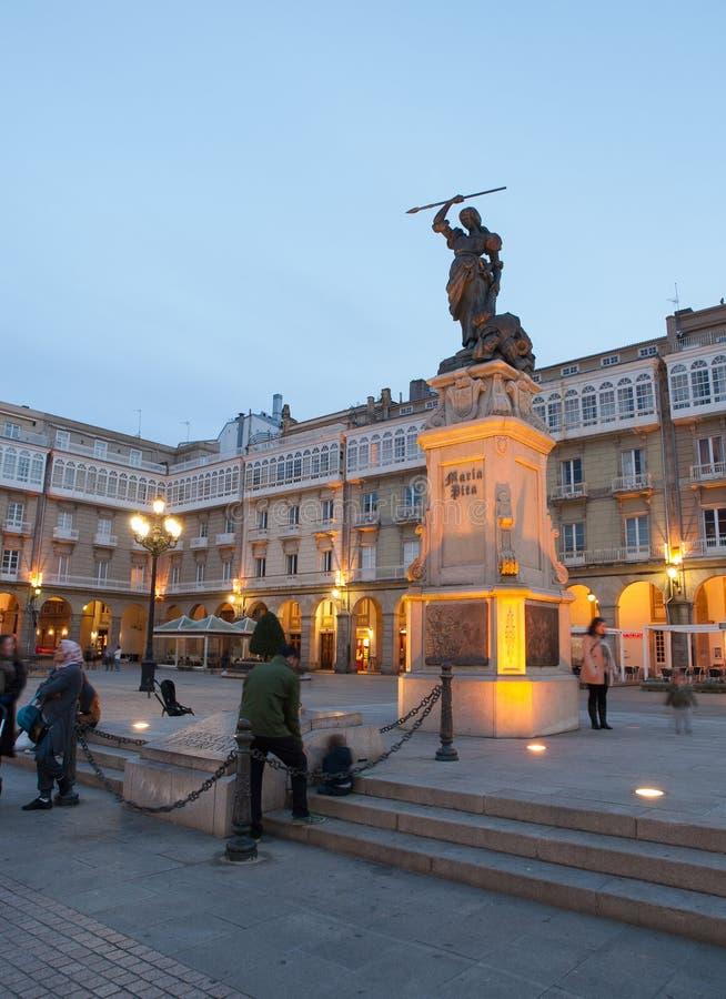 LA CORUNA, SPANJE - MAART 20: Monument aan Maria Pita royalty-vrije stock afbeelding