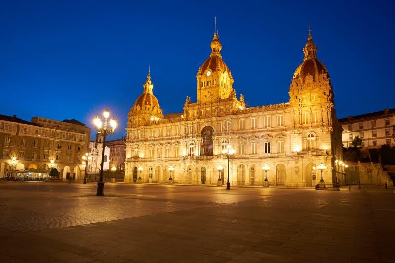 La Coruna Town hall in Maria Pita Square Galicia. La Coruna City town hall sunset in Maria Pita Square of Galicia Spain stock photography