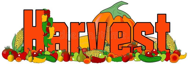 La cosecha de la palabra con los ejemplos de la fruta y verdura ilustración del vector