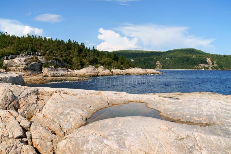 La costa cerca de Tadoussac, Canadá imagen de archivo libre de regalías