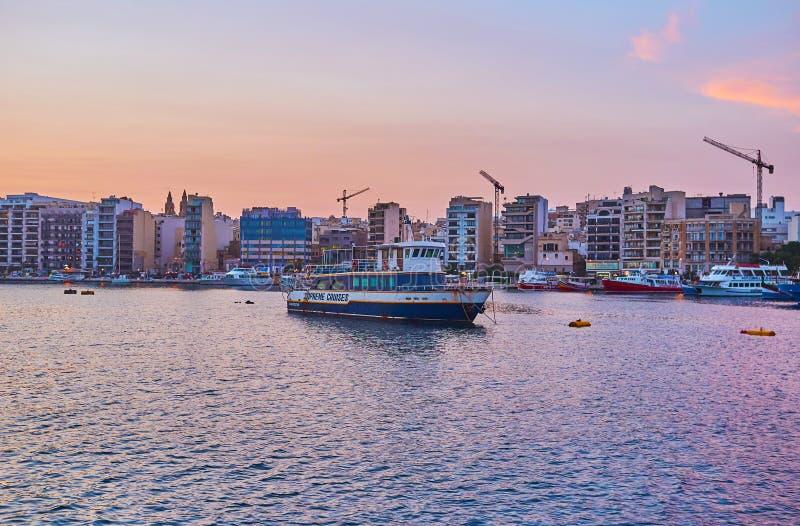 La costa di Sliema, Malta fotografia stock libera da diritti