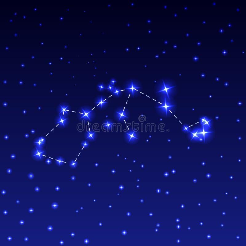 La costellazione dell'acquario nel cielo stellato di notte Illustrazione di vettore del concetto di astronomia royalty illustrazione gratis