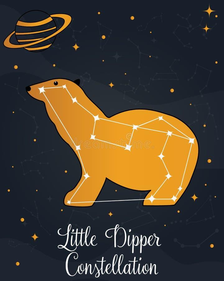 La costellazione poca stella di Dipper nel cielo notturno royalty illustrazione gratis