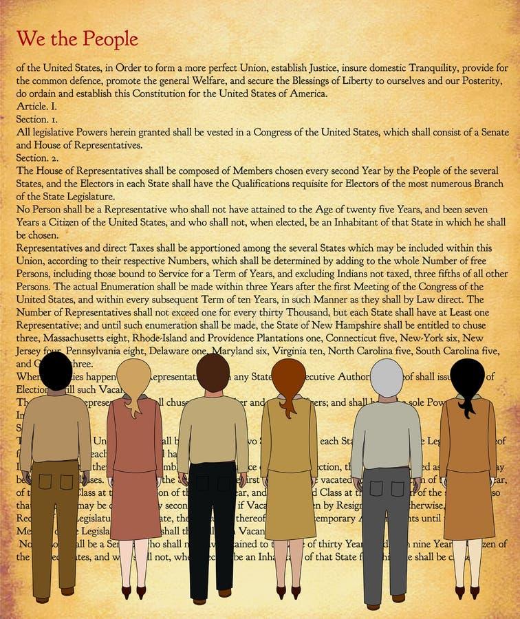 La costituzione degli Stati Uniti con le persone illustrazione di stock