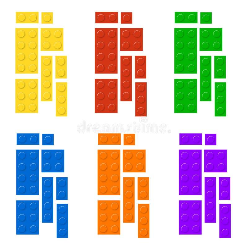 La costruzione blocca la forma di plastica del gioco di istruzione Giocattolo di plastica dei mattoni dei bambini di vettore royalty illustrazione gratis