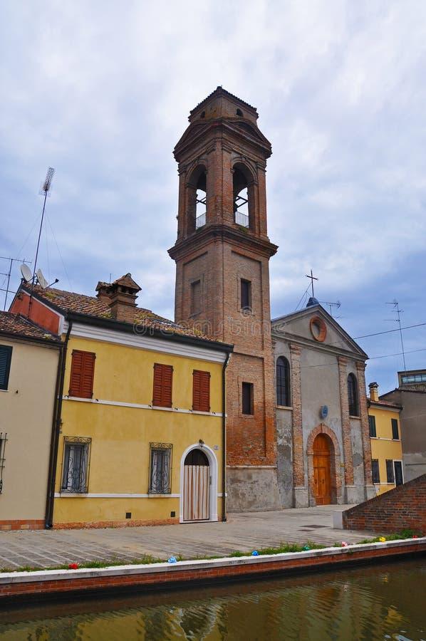 La costruzione del campanile nella città di Comacchio fotografie stock libere da diritti