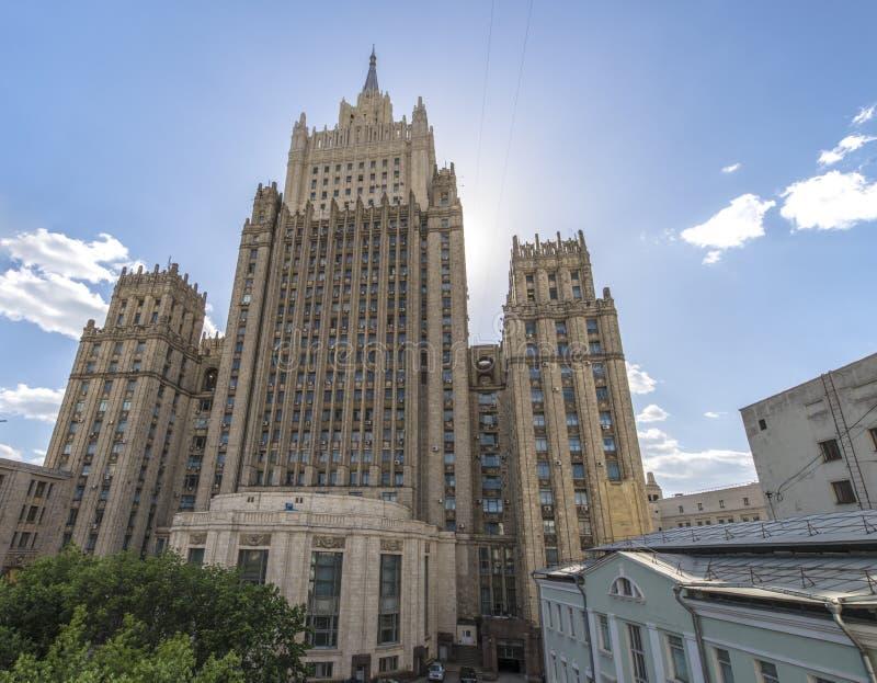 La costruzione del ministero degli affari esteri della Russia a Mosca sul Arbat fotografia stock