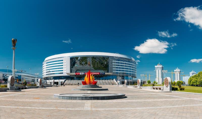 La costruzione dell'arena complessa di Minsk di sport dentro immagini stock libere da diritti