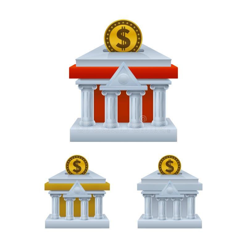 La costruzione della Banca ha modellato le icone del porcellino salvadanaio con il simbolo di dollaro illustrazione vettoriale