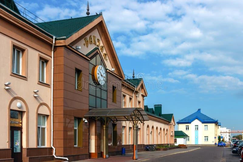 La costruzione della stazione ferroviaria in Lida › del  Ð di КÐ-Ð del  di Ð'Ð - STAZIONE FERROVIARIA, МЕКТ-clinica del   fotografie stock