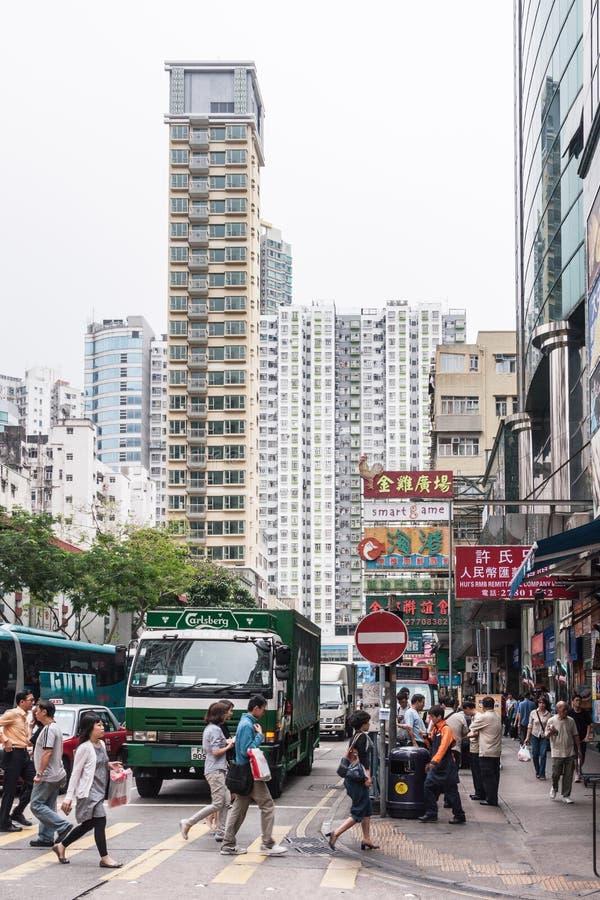 La costruzione di appartamento alta snella torreggia Nathan Road in Kowloon, Hong Kong China immagine stock