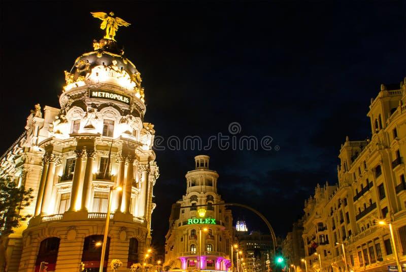 La costruzione famosa della metropoli di Gran via, Madrid fotografia stock libera da diritti