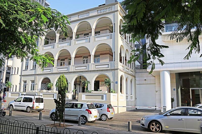 La costruzione storica del ` di Ben Nahum del ` dell'hotel è nella costruzione il numero 32 sul boulevard di Rothschild fotografia stock libera da diritti