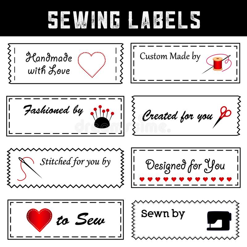 La costura de las etiquetas para la moda de DIY, cosiendo, adaptación, hace a mano libre illustration