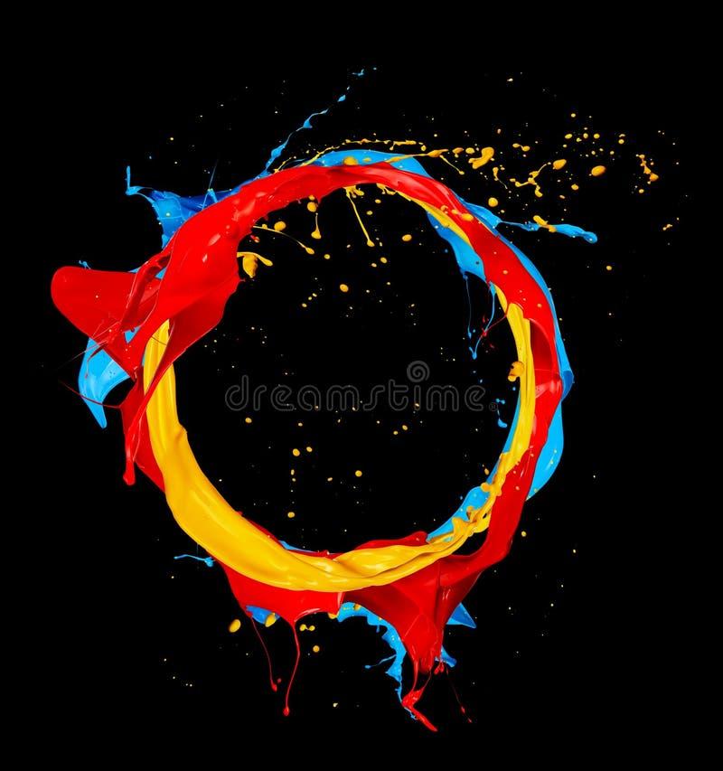 La couleur abstraite éclabousse le cercle sur le fond noir images stock