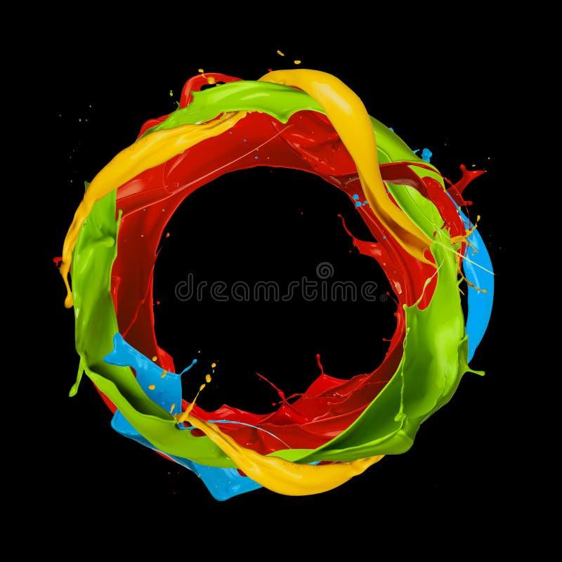 La couleur abstraite éclabousse le cercle sur le fond noir illustration stock