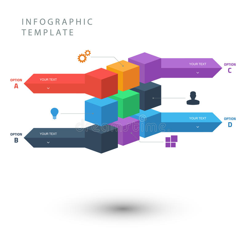 La couleur cube le calibre graphique d'infos pour la présentation illustration libre de droits