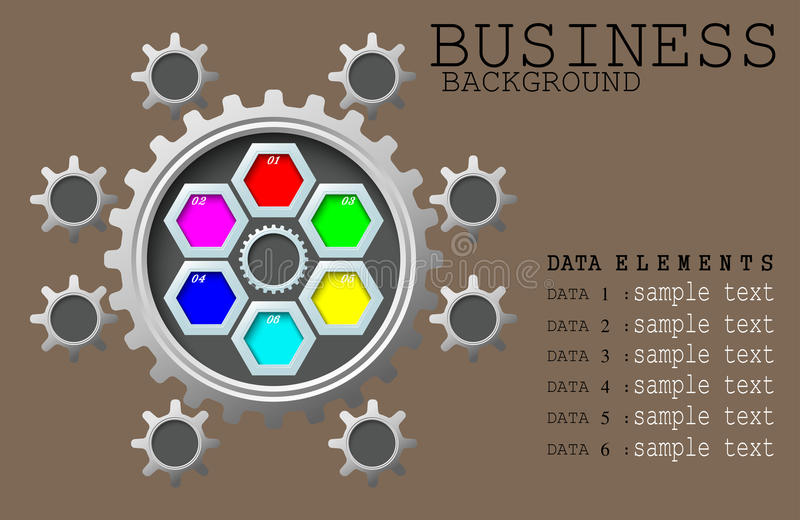 La couleur de concept de fond d'affaires embraye avec l'élément d'informations illustration de vecteur