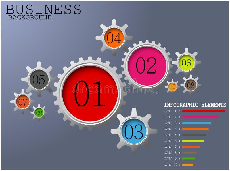 La couleur de concept de fond d'affaires embraye des options de nombre avec les éléments infographic illustration libre de droits