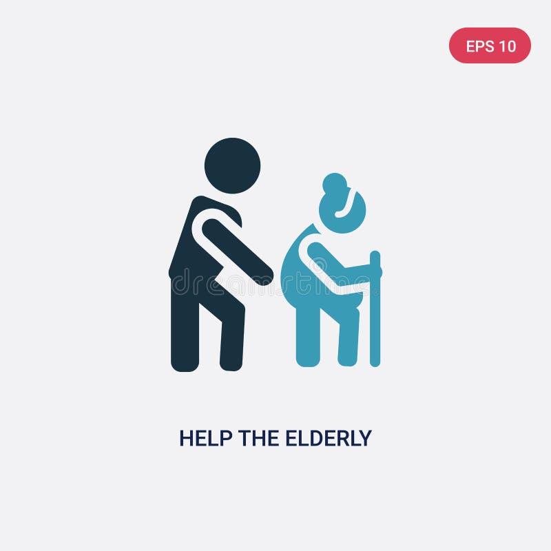 La couleur deux aident l'icône pluse âgé de vecteur du concept de personnes l'aide bleue d'isolement le symbole plus âgé de signe illustration de vecteur