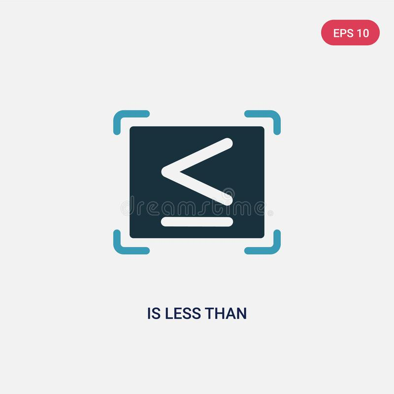 La couleur deux est moins que l'icône de vecteur du concept de signes le bleu d'isolement est moins que le symbole de signe de ve illustration de vecteur