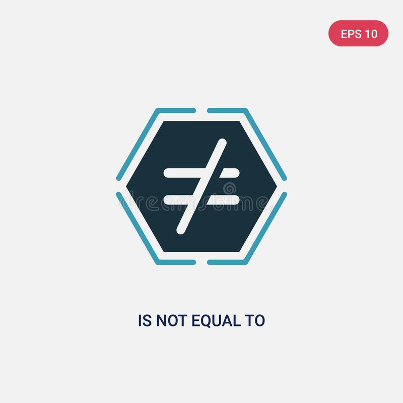 La couleur deux n'est pas égale pour diriger l'icône du concept de signes le bleu d'isolement n'est pas égal pour diriger le symb illustration stock