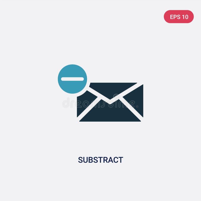 La couleur deux soustraient l'icône de vecteur du concept de signes le bleu d'isolement soustraient le symbole de signe de vecteu illustration libre de droits